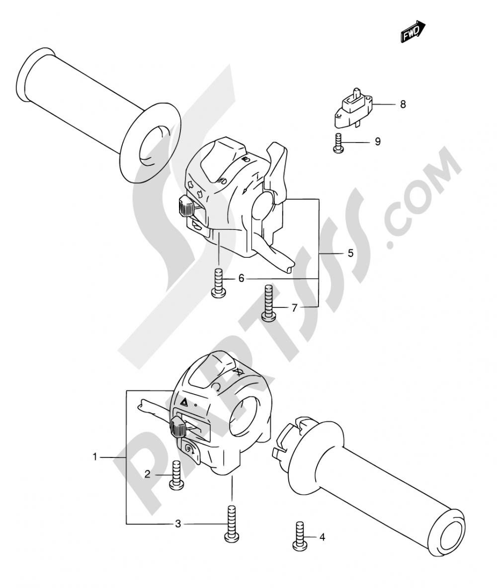 35A - HANDLE SWITCH (GSF600K3/K4/UK3/UK4/ZK4) Suzuki BANDIT GSF600 2003