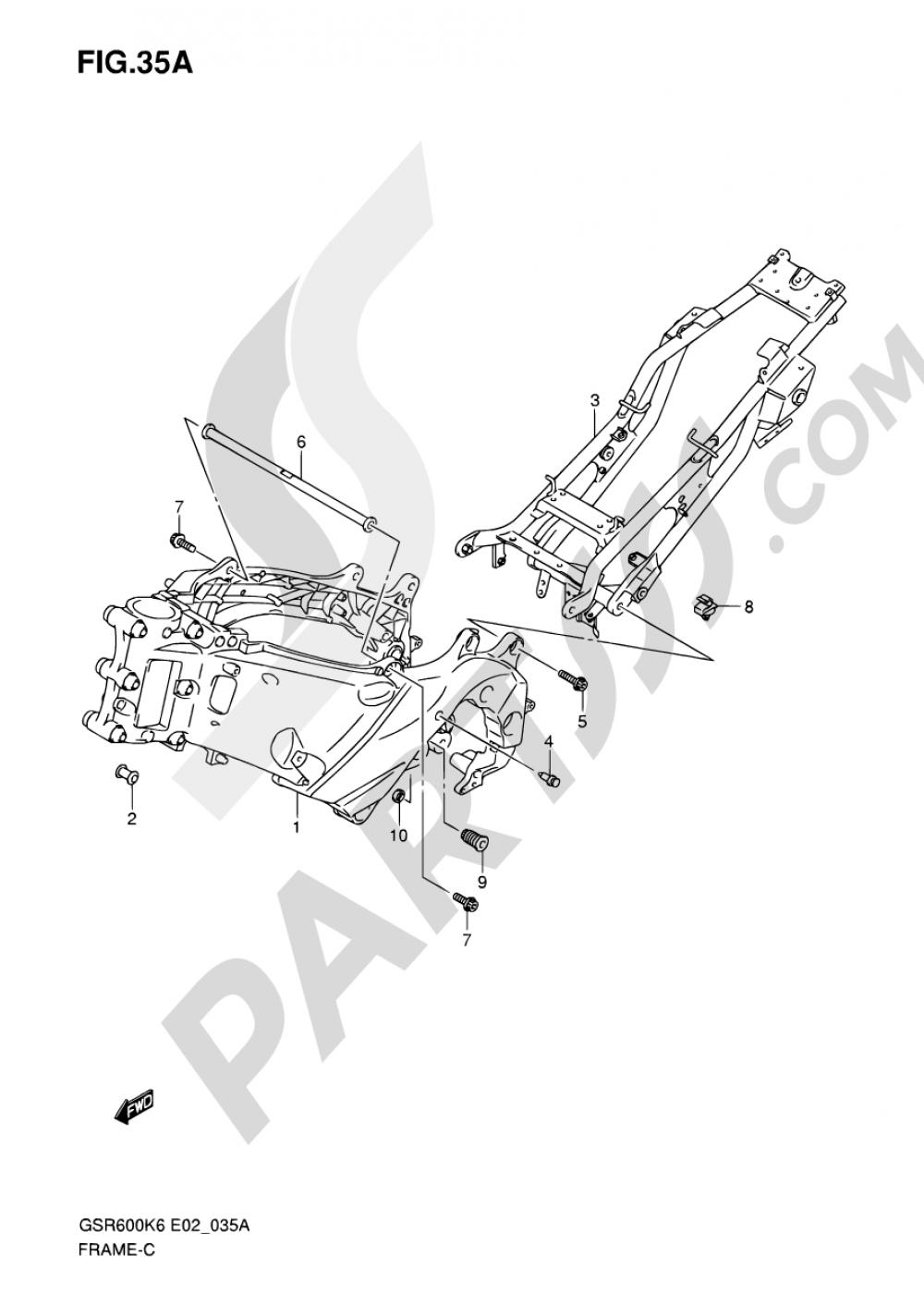 35A - FRAME (GSR600AK7/UAK7) Suzuki GSR600A 2007