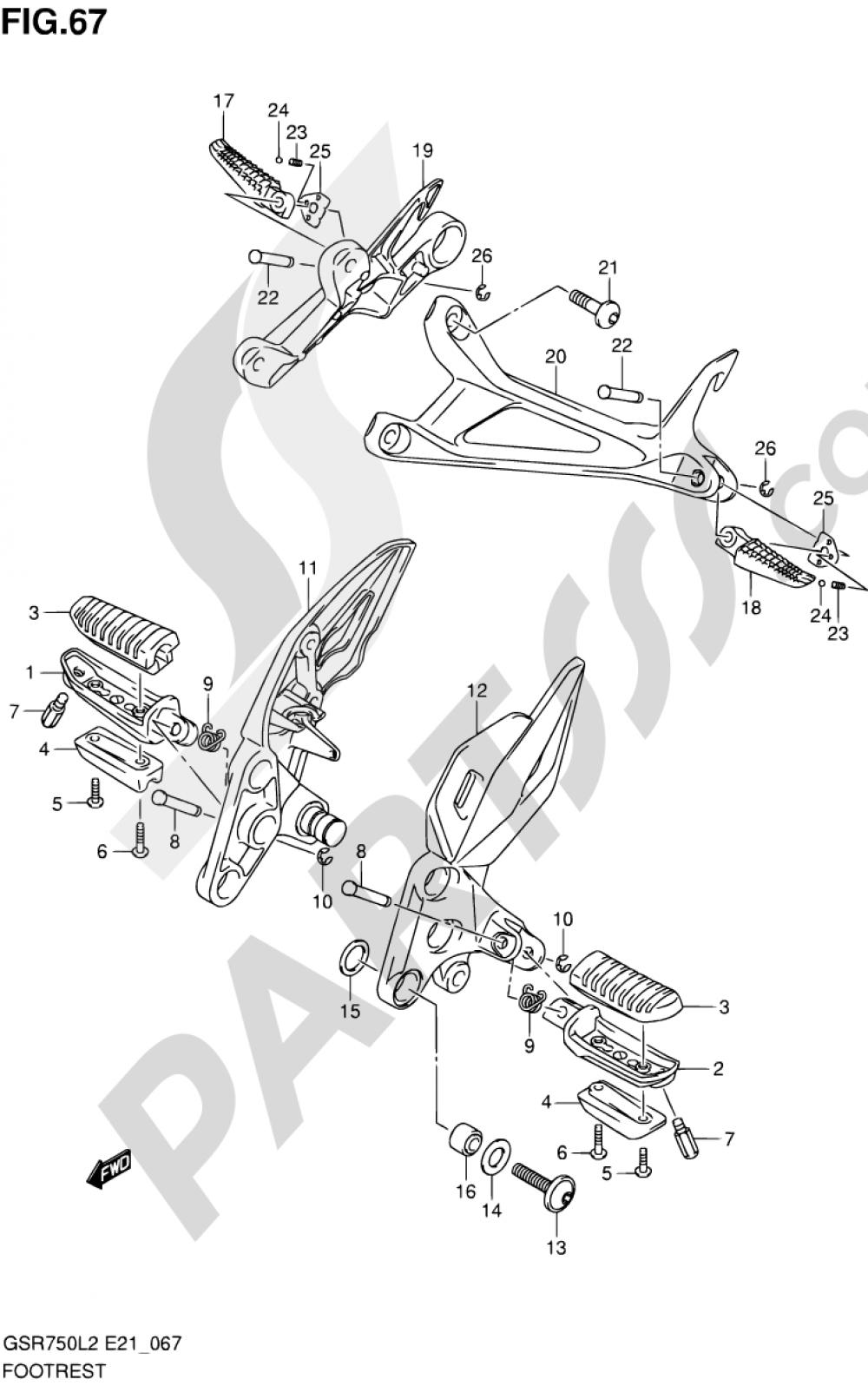 67 - FOOTREST Suzuki GSR750 2012