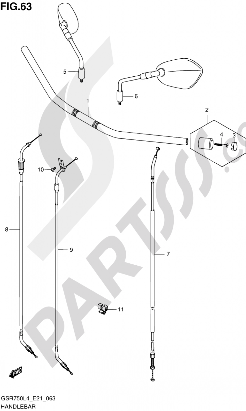 63 - HANDLEBAR Suzuki GSR750 2014