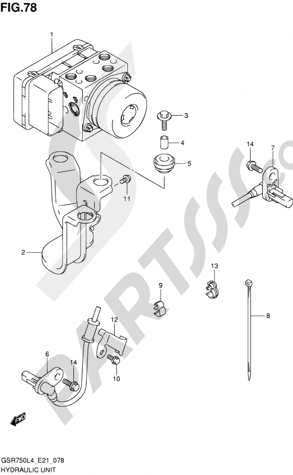 78 - HYDRAULIC UNIT (GSR750AUEL4 E21) Suzuki GSR750 2014
