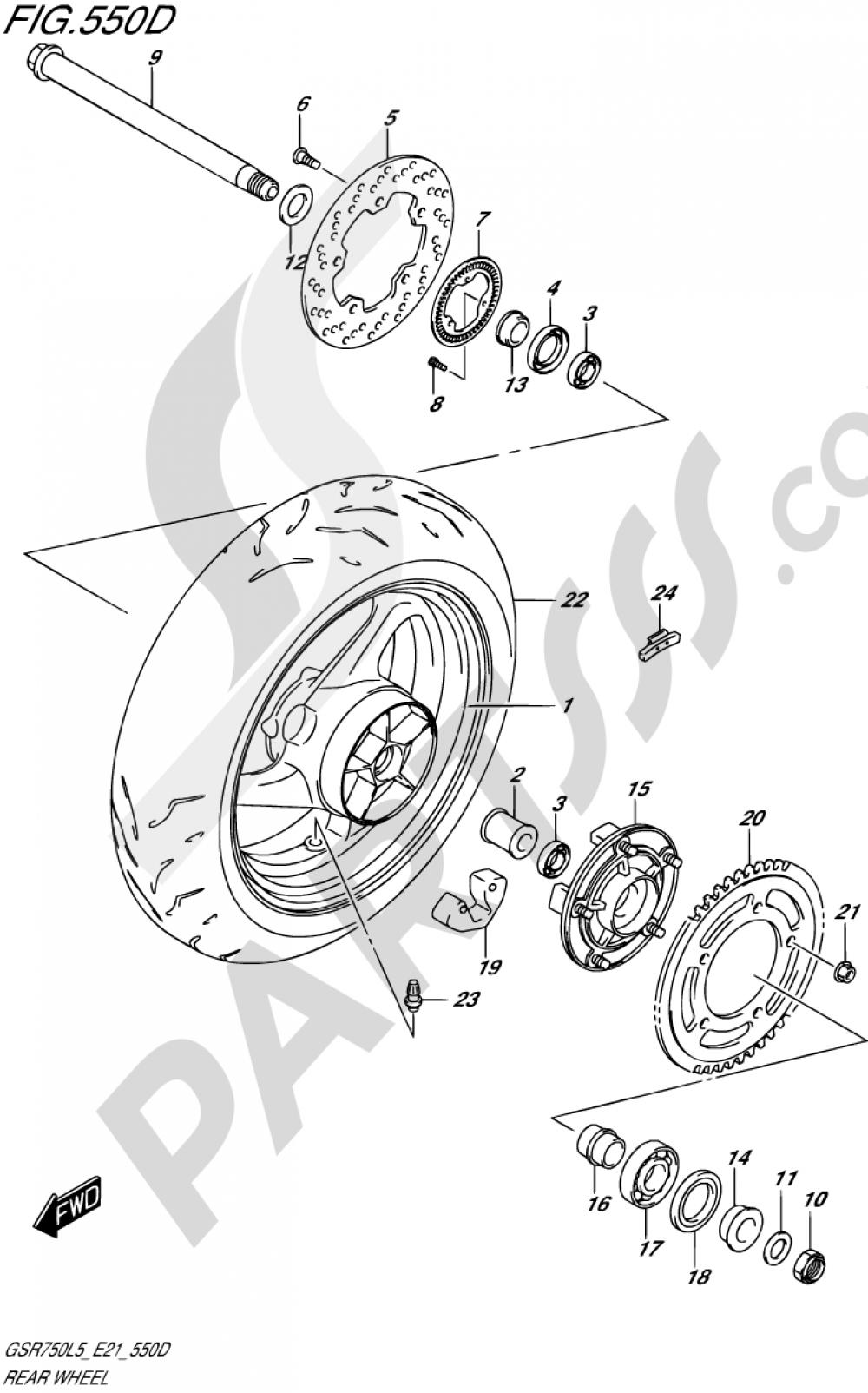 550D - REAR WHEEL (GSR750AUEL5 E21) Suzuki GSR750 2015