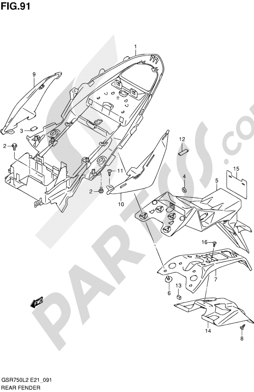 91 - REAR FENDER (GSR750AL2 E24) Suzuki GSR750A 2012