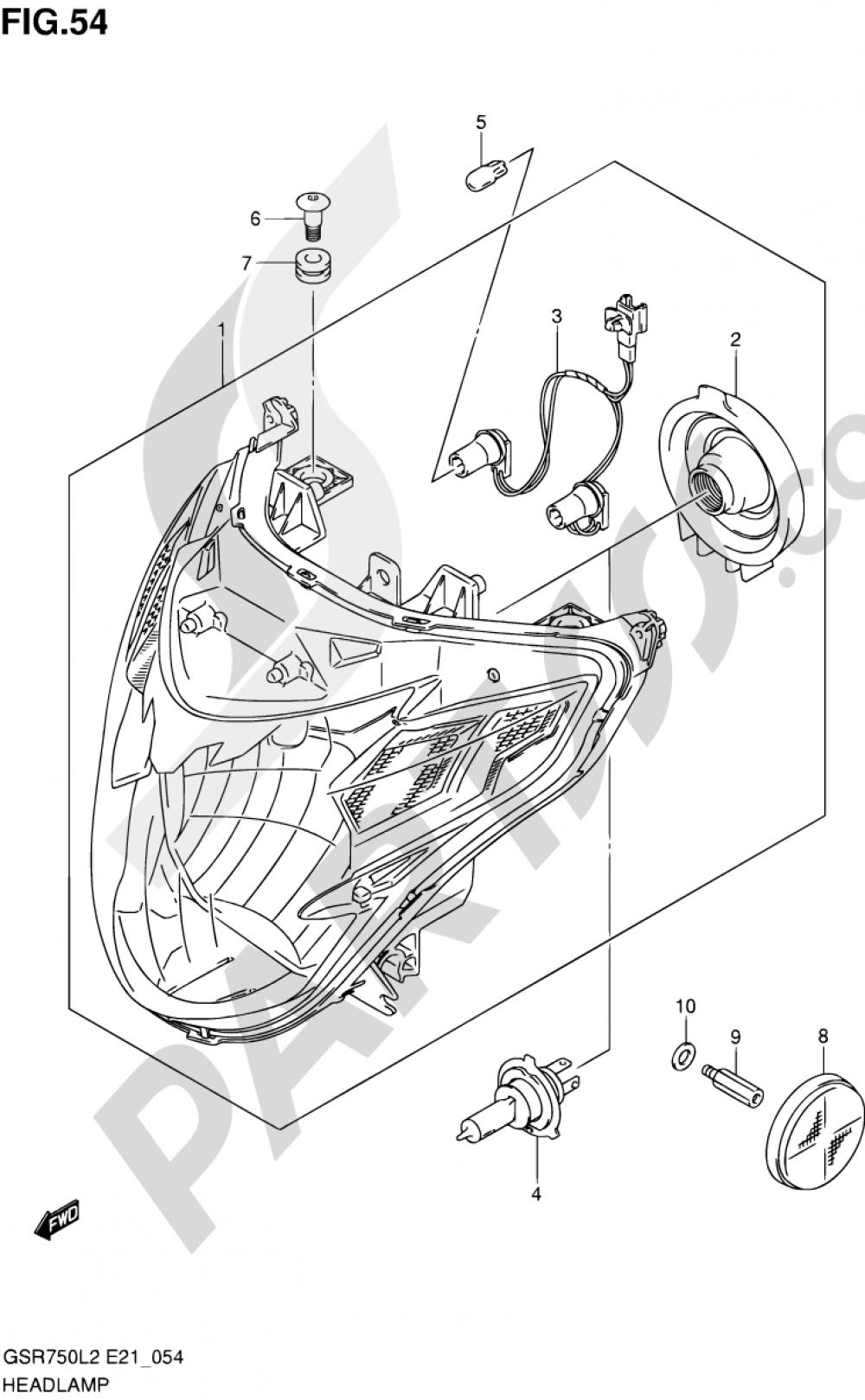 54 - HEADLAMP (GSR750AL2 E24) Suzuki GSR750A 2012