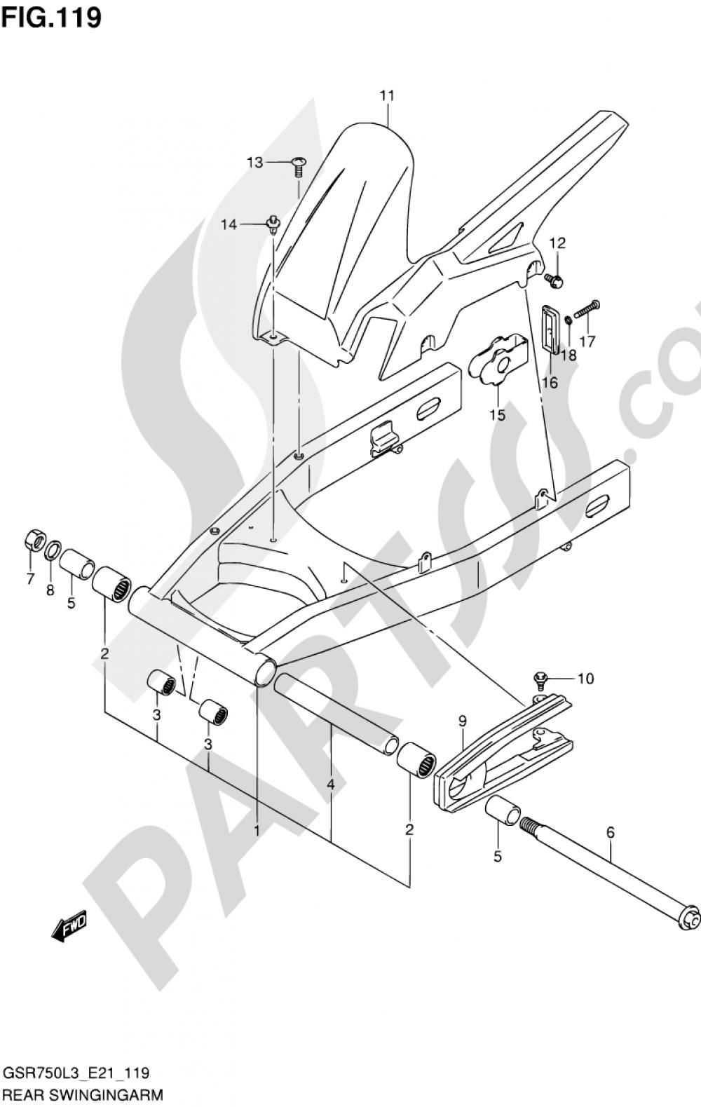 119 - REAR SWINGINGARM Suzuki GSR750A 2013
