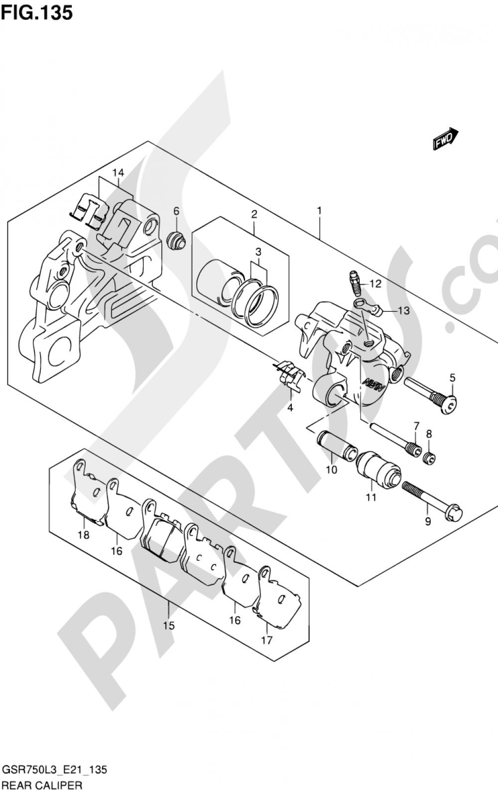 135 - REAR CALIPER (GSR750AL3 E21) Suzuki GSR750A 2013