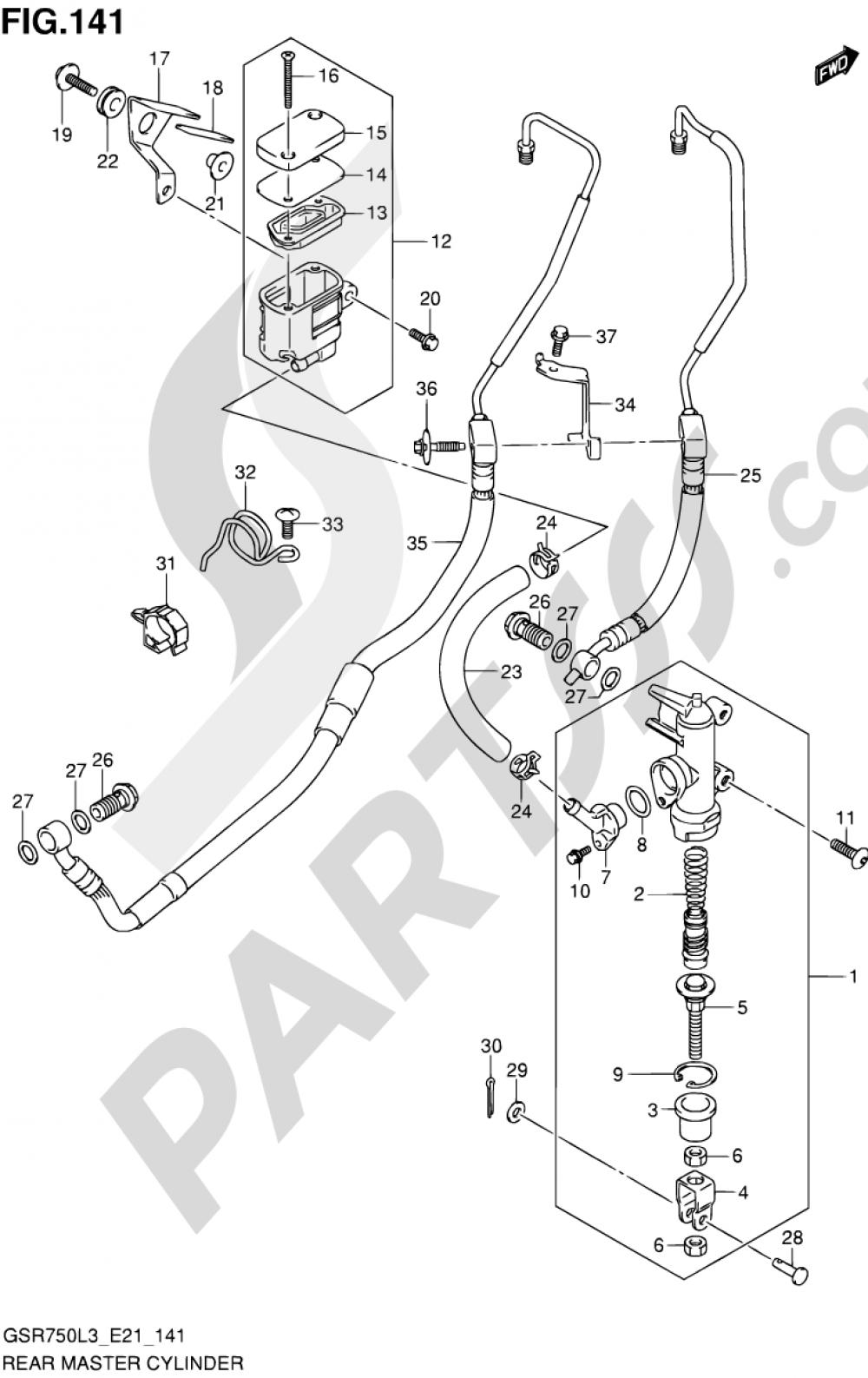 141 - REAR MASTER CYLINDER (GSR750AL3 E21) Suzuki GSR750A 2013