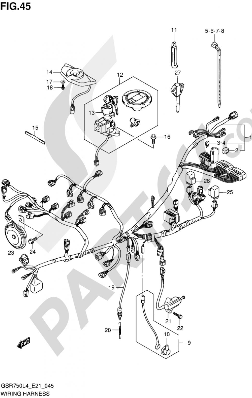 45 - WIRING HARNESS (GSR750L4 E21) Suzuki GSR750A 2014