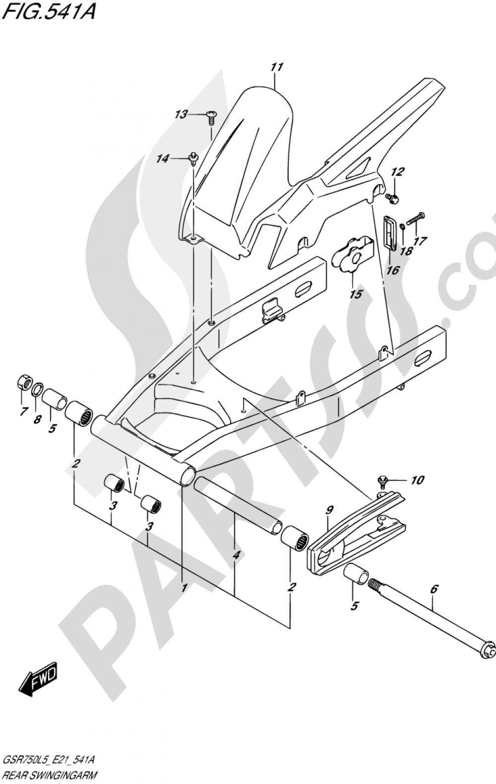 541A - REAR SWINGINGARM Suzuki GSR750A 2015