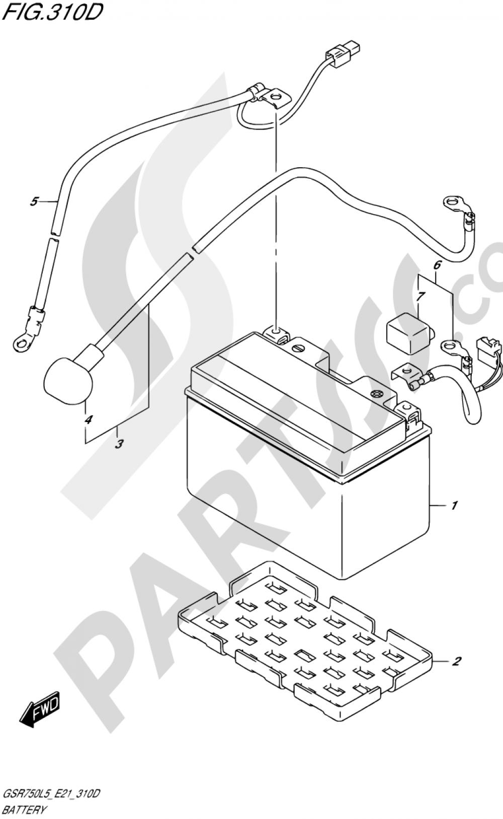 310D - BATTERY (GSR750AUEL5 E21) Suzuki GSR750A 2015