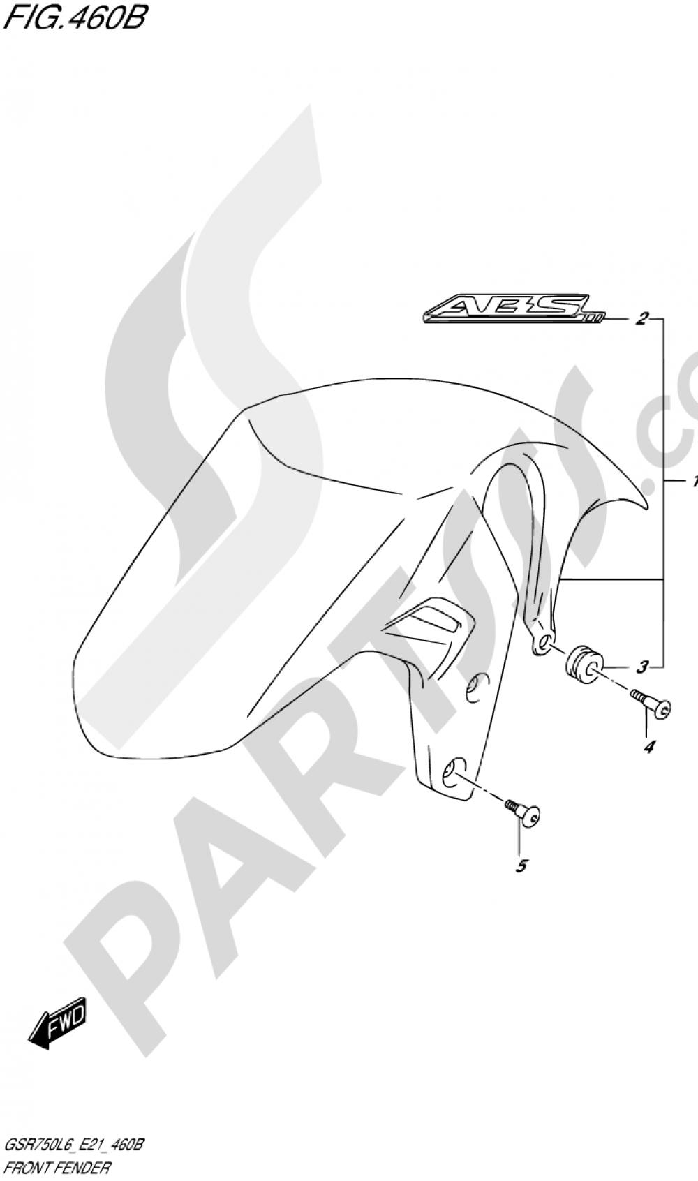 460B - FRONT FENDER (GSR750AL6 E21) Suzuki GSR750A 2016