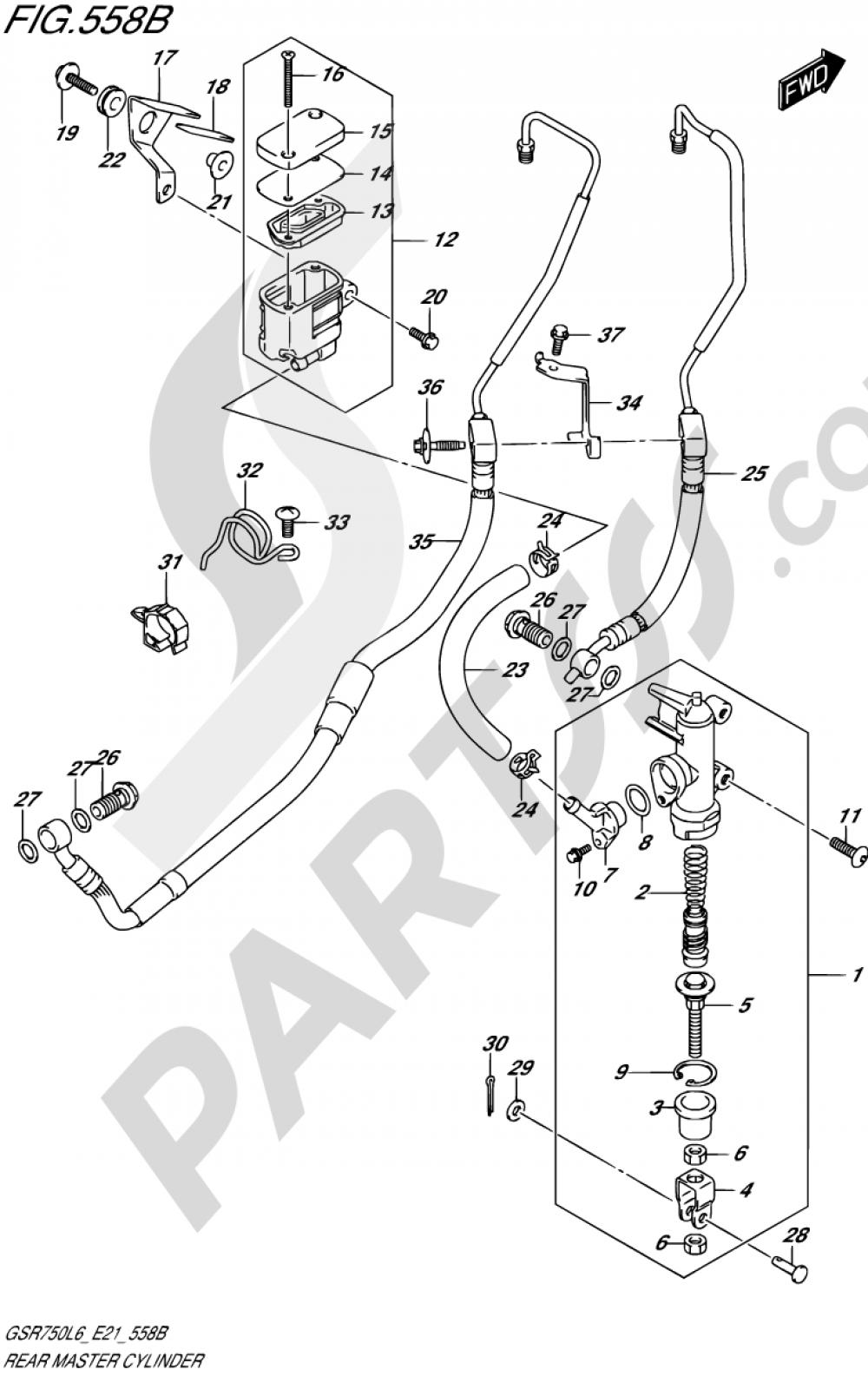 558B - REAR MASTER CYLINDER (GSR750AL6 E21) Suzuki GSR750A 2016