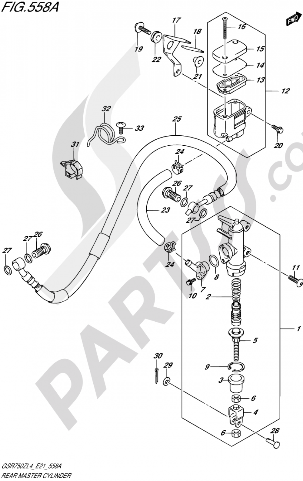 558A - REAR MASTER CYLINDER (GSR750ZL4 E21) Suzuki GSR750Z 2014