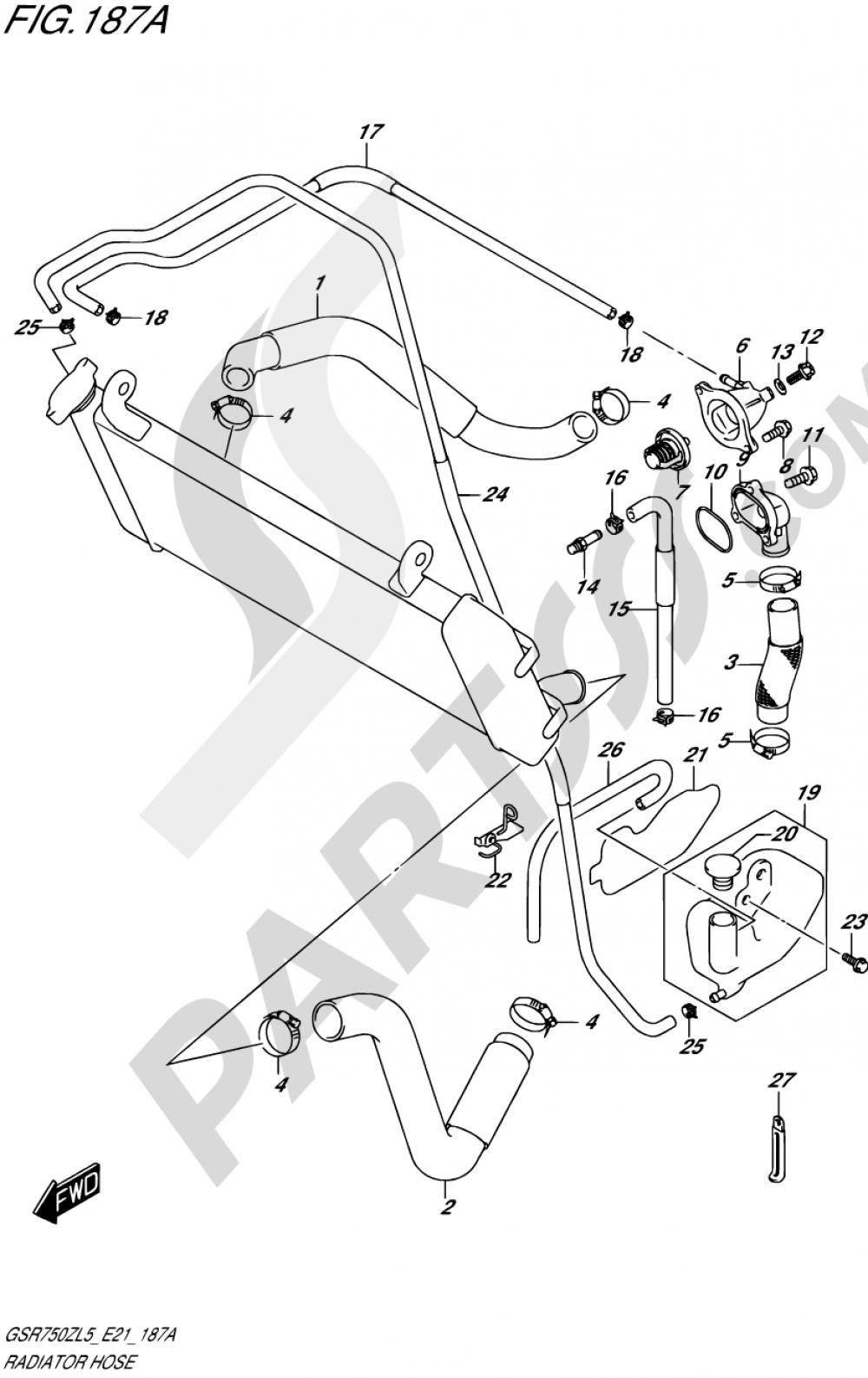 187A - RADIATOR HOSE Suzuki GSR750Z 2015