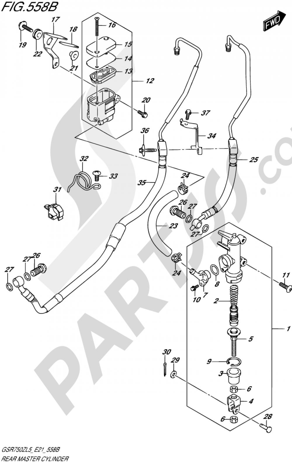 558B - REAR MASTER CYLINDER (GSR750ZAL5 E21) Suzuki GSR750ZA 2015