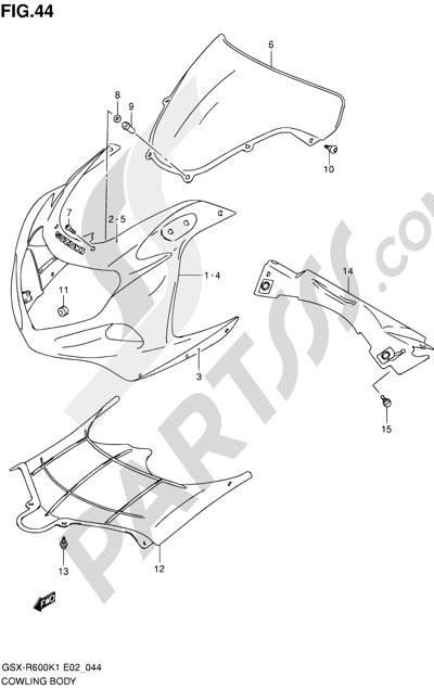 Suzuki GSX-R600 2001 44 - COWLING BODY (MODEL K1)