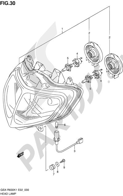 Suzuki GSX-R600 2001 30 - HEADLAMP (E02,E19)