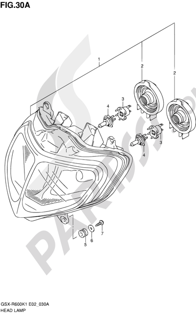 Suzuki GSX-R600 2001 30A - HEADLAMP (MODEL K1 E24)