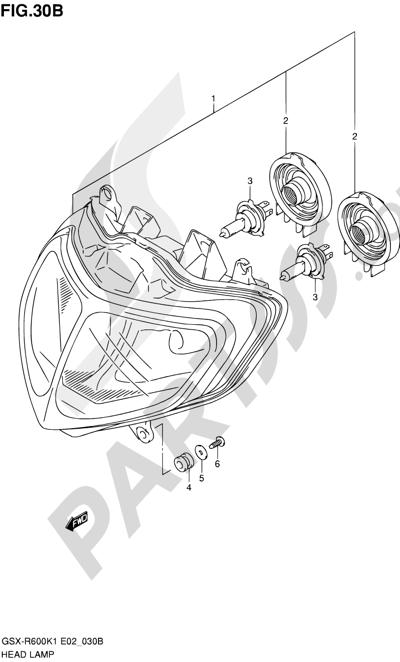 Suzuki GSX-R600 2001 30B - HEADLAMP (MODEL K2/K3 E24)