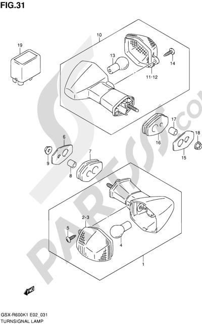 Suzuki GSX-R600 2001 31 - TURN SIGNAL LAMP (MODEL K1)