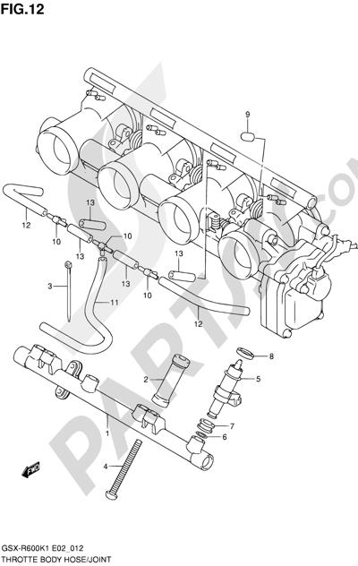 Suzuki GSX-R600 2001 12 - THROTTLE BODY HOSE/JOINT
