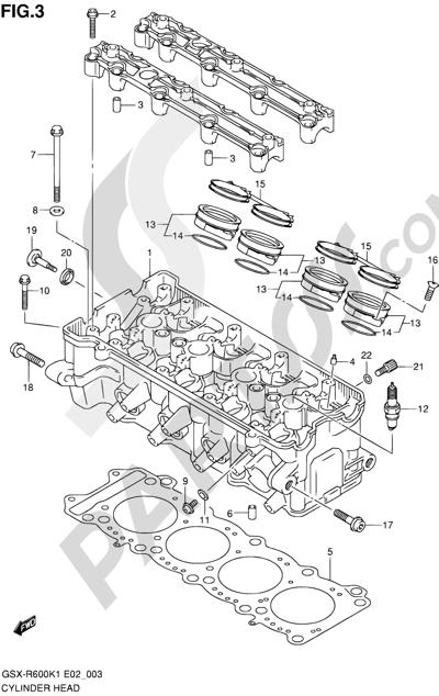 Suzuki GSX-R600 2001 3 - CYLINDER HEAD