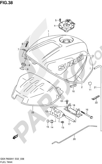 Suzuki GSX-R600 2001 38 - FUEL TANK (MODEL K1)