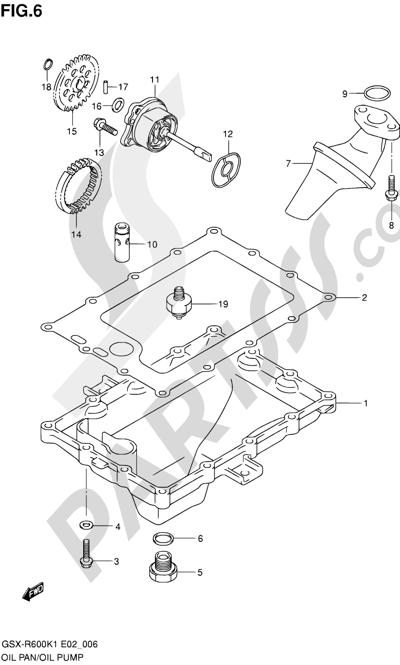 Suzuki GSX-R600 2001 6 - OIL PAN - OIL PUMP