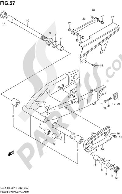 Suzuki GSX-R600 2001 57 - REAR SWINGING ARM