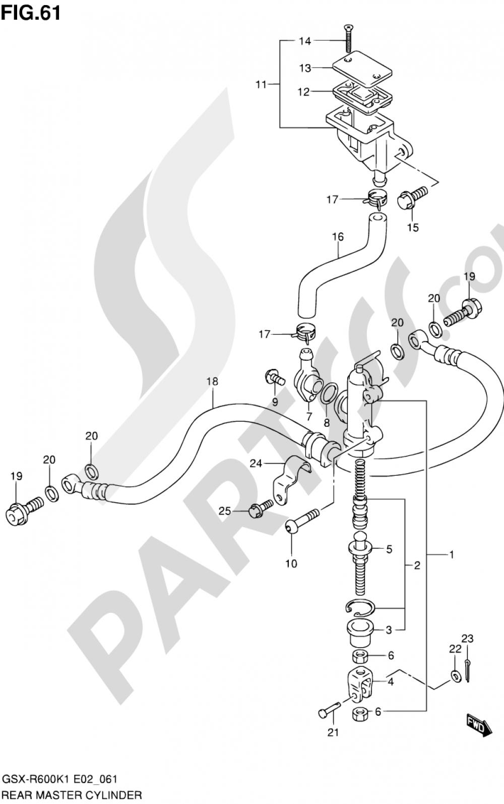 61 - REAR MASTER CYLINDER Suzuki GSX-R600 2001