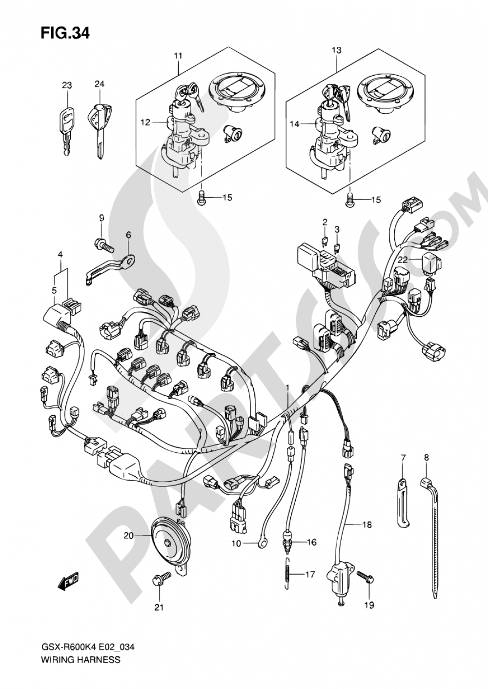 34 - WIRING HARNESS Suzuki GSX-R600 2005 K Gsx R Wiring Diagram on