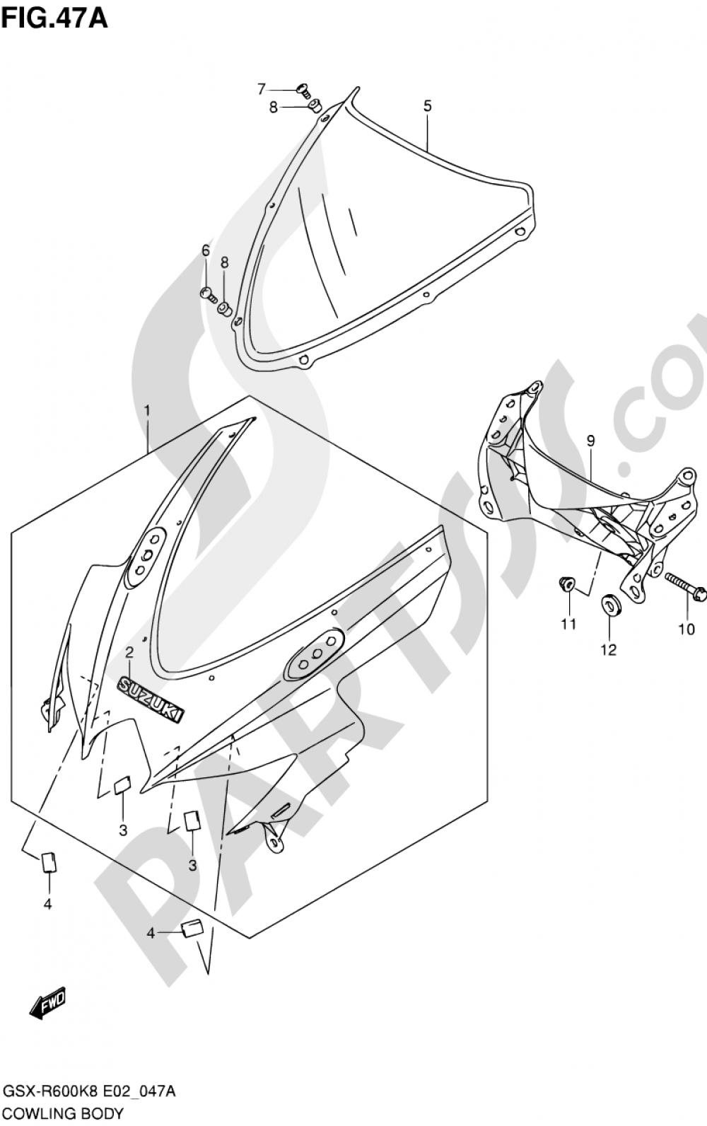 47A - COWLING BODY (MODEL K9) Suzuki GSX-R600 2009