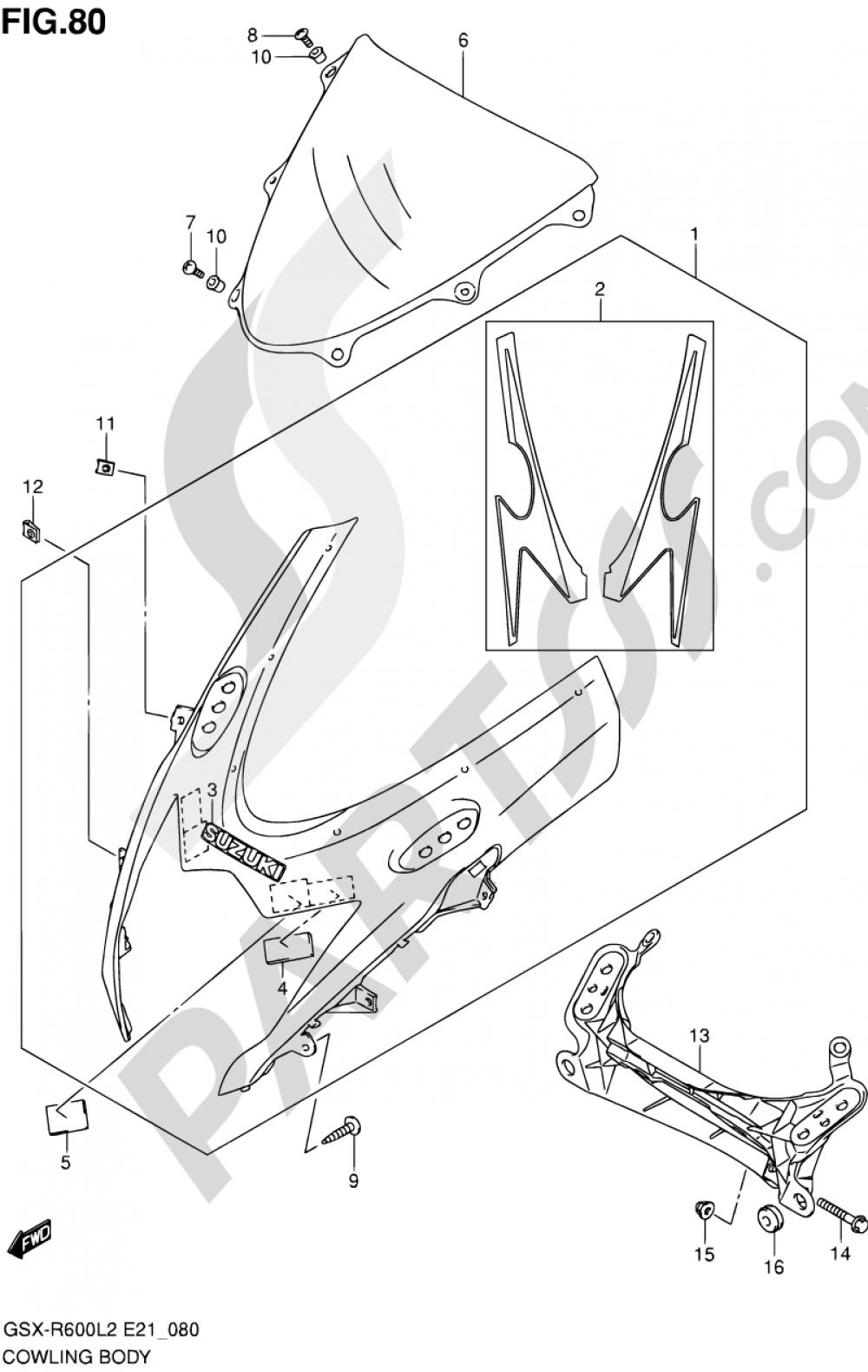 80 - COWLING BODY (GSX-R600L2 E24) Suzuki GSX-R600 2012