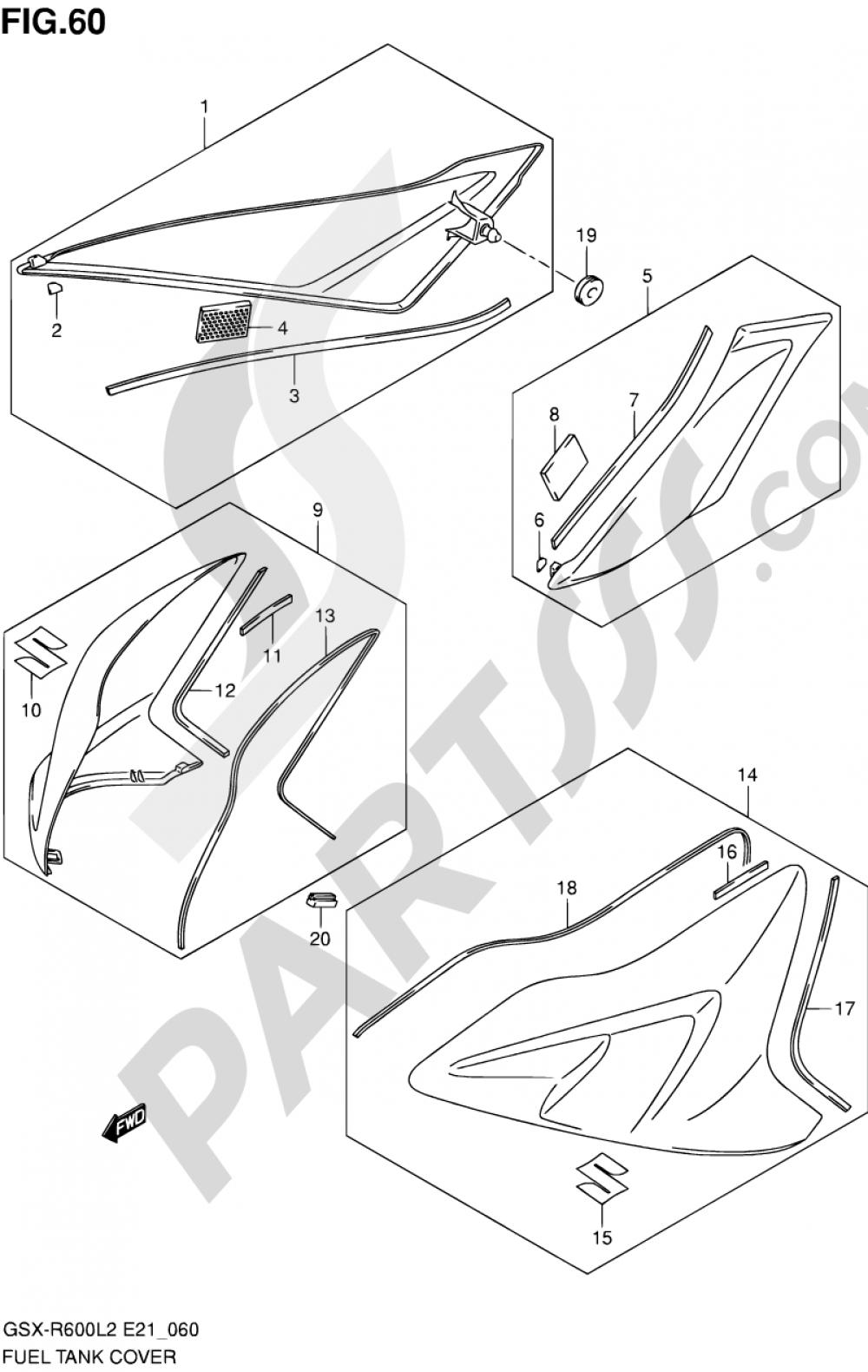 60 - FUEL TANK COVER (GSX-R600UFL2 E21) Suzuki GSX-R600 2012