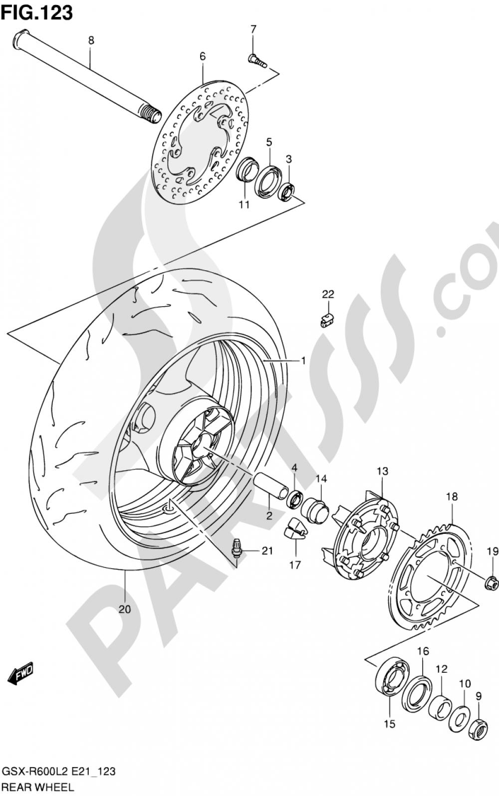 123 - REAR WHEEL (GSX-R600L2 E24) Suzuki GSX-R600 2012