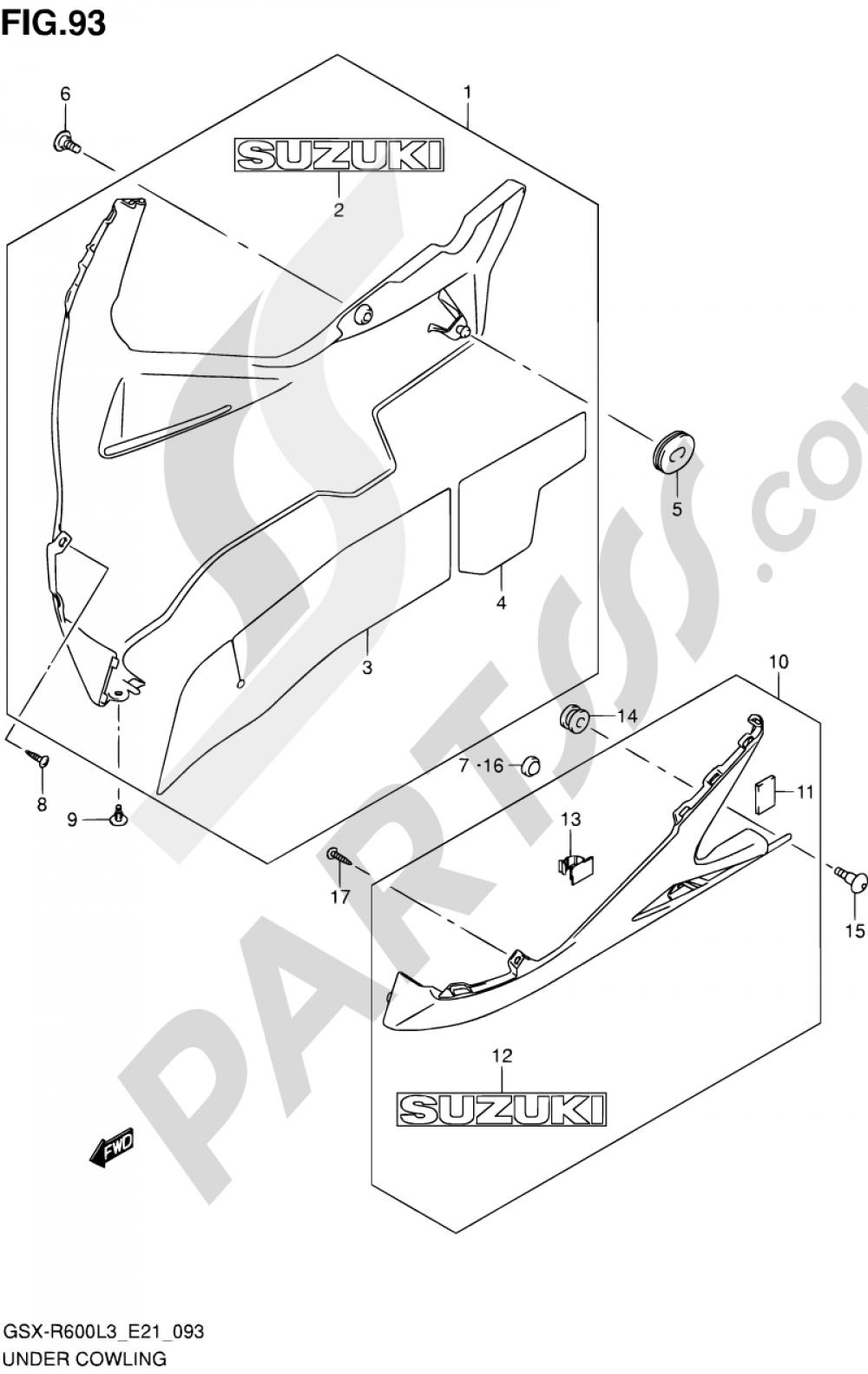 93 - UNDER COWLING Suzuki GSX-R600 2013