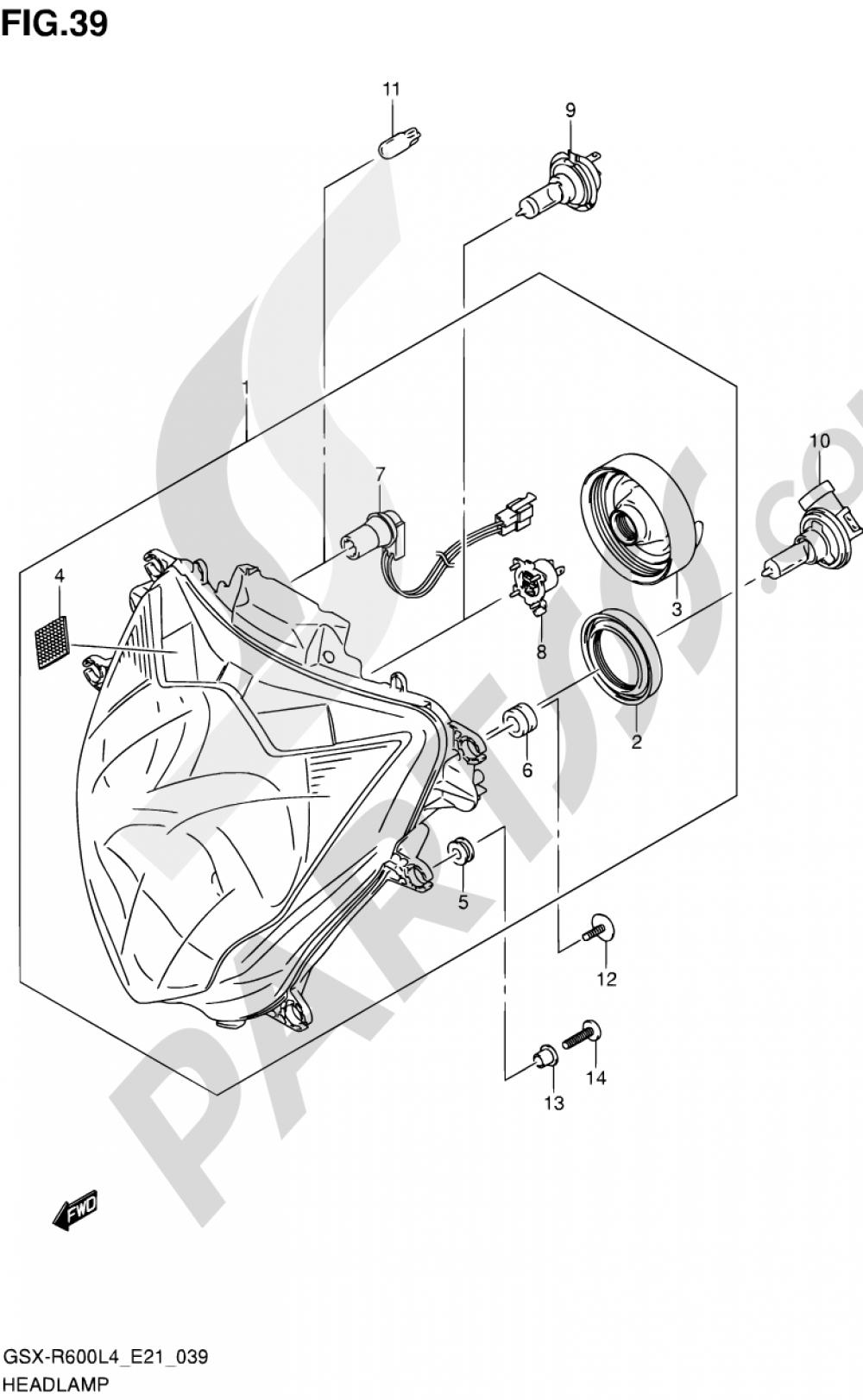 39 - HEADLAMP (GSX-R600UEL4 E21) Suzuki GSX-R600 2014