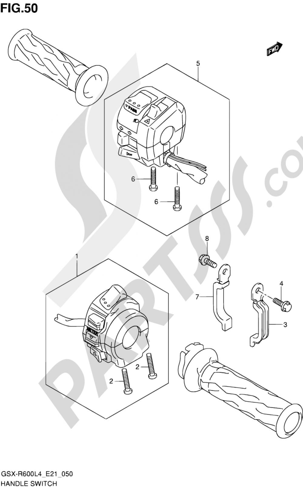 50 - HANDLE SWITCH Suzuki GSX-R600 2014