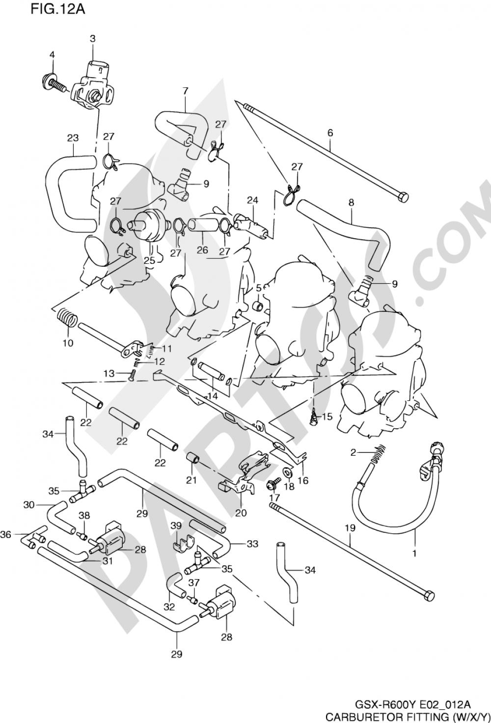 12A - CARBURETOR FITTINGS (MODEL W/X/Y) Suzuki GSX-R600 2000