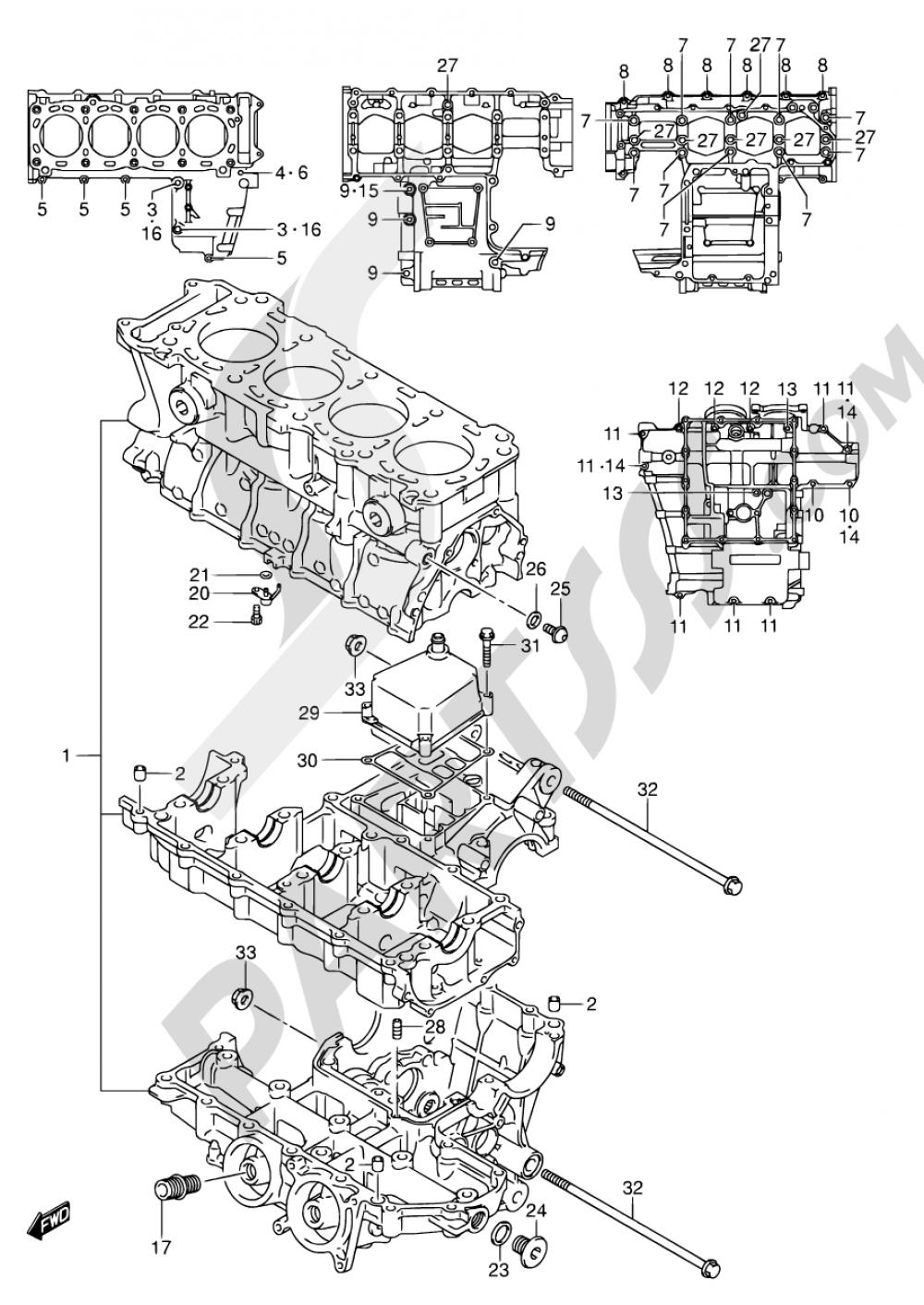 4 - CRANKCASE Suzuki GSX-R600X 2005