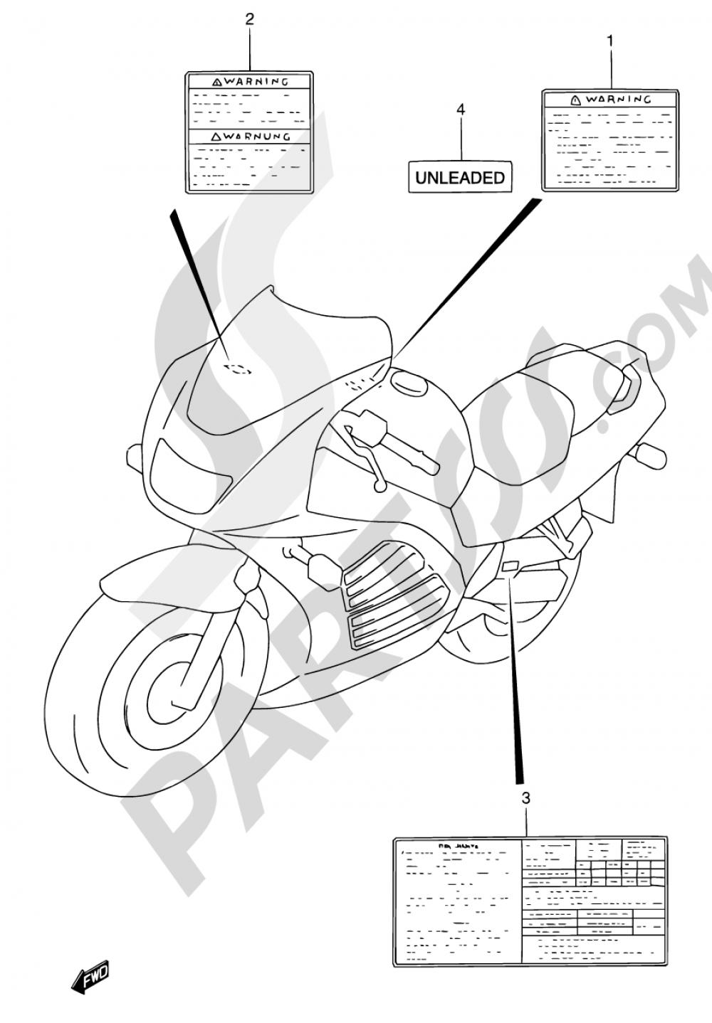49 - LABEL (MODEL P/R/S) Suzuki RF600R 1993