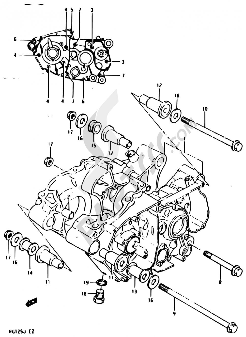2 - CRANKCASE Suzuki RG125 1988