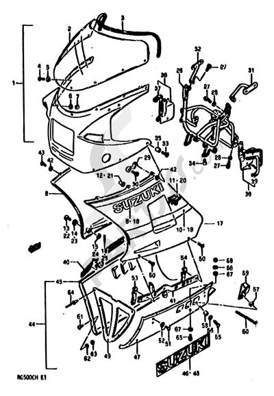 Suzuki RG500 1986 57 - COWLING (MODEL G E02,E15,E16,E17,E21,E22,E25,E34,E39)