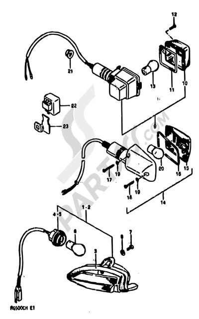 Suzuki RG500 1986 23 - TURNSIGNAL LAMP (E01,E04,E06,E24)
