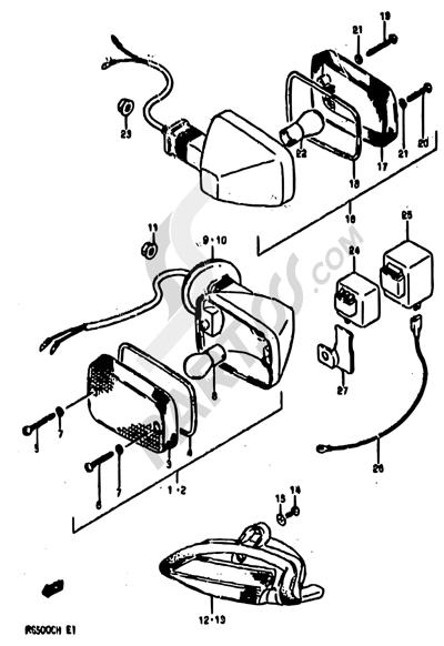 Suzuki RG500 1986 24 - TURNSIGNAL LAMP (E02,E15,E16,E17,E21,E22,E25,E34,E39,E53)