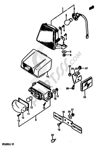 Suzuki RG500 1986 25 - REAR COMBINATION LAMP