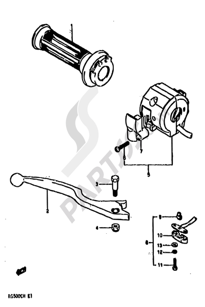 Suzuki RG500 1986 42 - RIGHT HANDLE SWITCH (MODEL G)