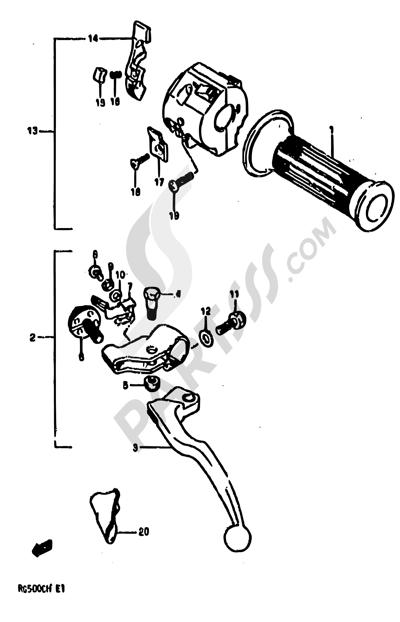 Suzuki RG500 1986 44 - LEFT HANDLE SWITCH (MODEL G)