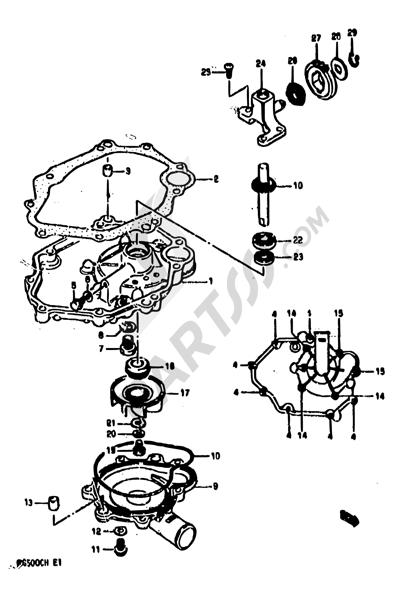 Suzuki RG500 1986 5 - OIL PAN-WATER PUMP