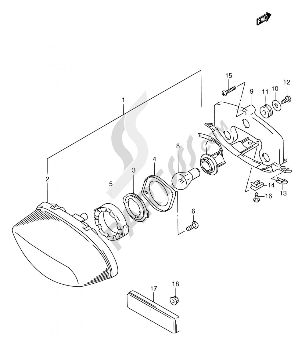 23 - REAR COMBINATION LAMP Suzuki RGV250 1997